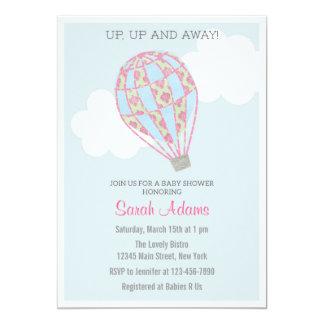 Patchwork Hot Air Balloon Baby Shower Invitation