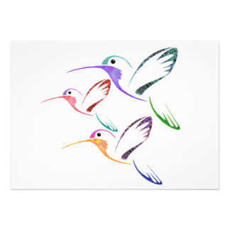 Patchwork Hummingbird Trio Invitations