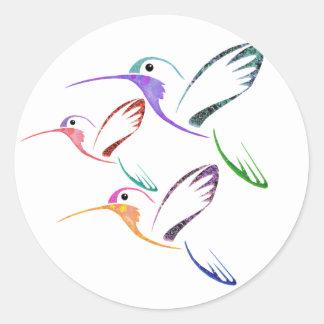 Patchwork Hummingbird Trio Stickers