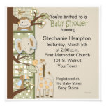 Patchwork in Greens Baby Shower Invitation