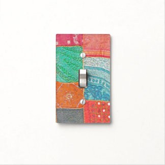 PATCHWORK/INDIAN CLOTH/MULTI-COLORED/TEXTURED LOOK LIGHT SWITCH COVER