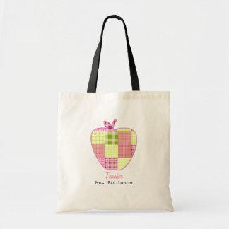 Patchwork Inspired Plaid Apple Teacher Budget Tote Bag