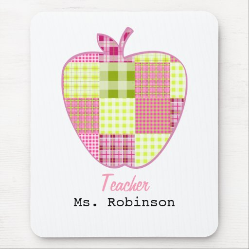 Patchwork Inspired Plaid Apple Teacher Mouse Pad