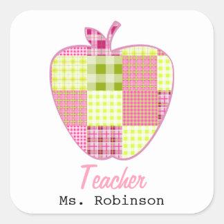 Patchwork Inspired Plaid Apple Teacher Square Sticker