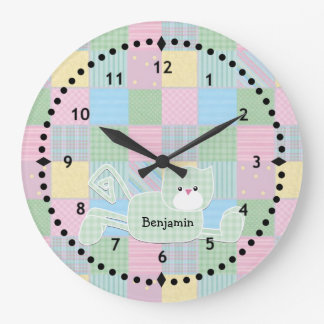 Patchwork Kitty Nursery Wall Clock
