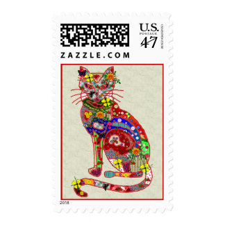 Patchwork Kitty Postage