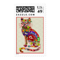 Patchwork Kitty Postage Stamp