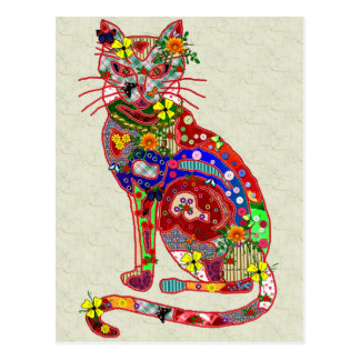 Patchwork Kitty Postcard