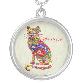 Patchwork Kitty Round Pendant Necklace