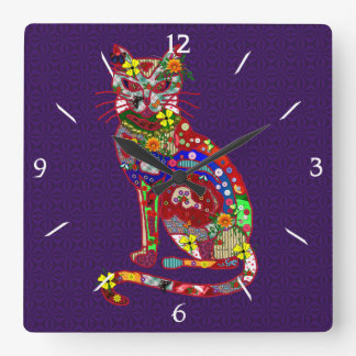 Patchwork Kitty Square Wall Clock