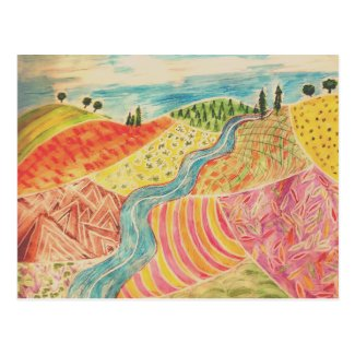 Patchwork Landscape Postcard