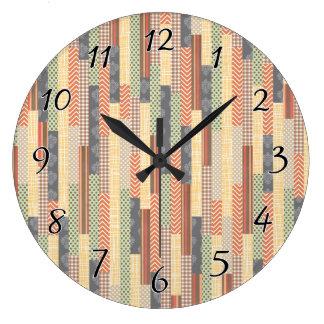 Patchwork Lines Large Clock