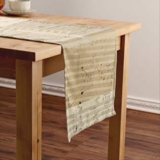 Patchwork Look Beethoven Musical Manuscripts Long Table Runner