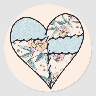 Patchwork LoveHeart Classic Round Sticker
