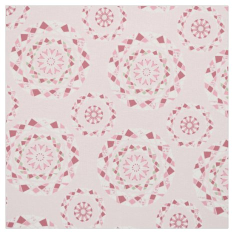 Patchwork mandala pattern in pink tones fabric