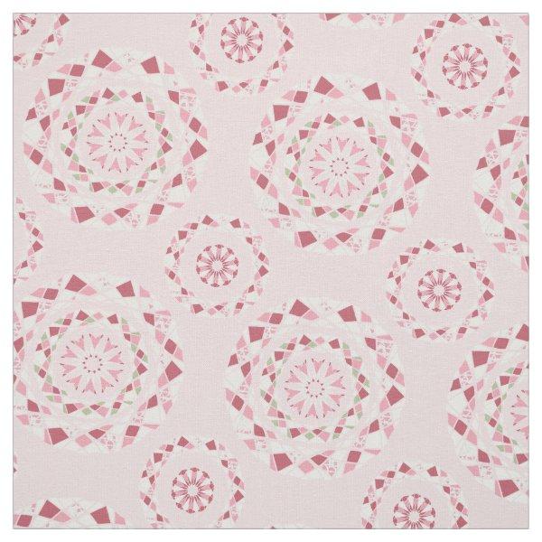 Patchwork mandala pattern in pink tones fabric