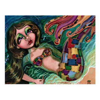 Patchwork Mermaid Postcard