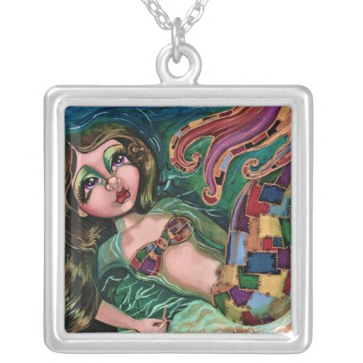 """Patchwork Mermaid"" Square Sterling Silver Necklac Square Pendant Necklace"