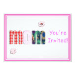 Patchwork 'MOM' on Blank (Add Any Color) 5x7 Paper Invitation Card