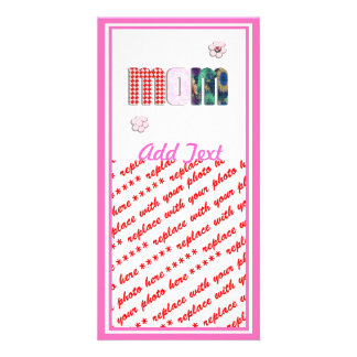 Patchwork 'MOM' on Blank (Add Any Color) Customized Photo Card