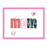 Patchwork 'MOM' on Blank (Add Any Color) Postcard