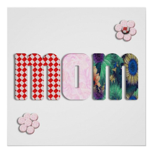 Patchwork 'MOM' on Blank (Add Any Color) Print