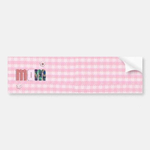 Patchwork 'MOM' On Pink Checkerboard Bumper Sticker