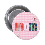 Patchwork 'MOM' On Pink Checkerboard Pinback Button
