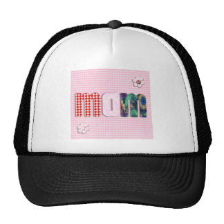 Patchwork 'MOM' On Pink Checkerboard Trucker Hats