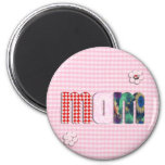 Patchwork 'MOM' On Pink Checkerboard Refrigerator Magnets