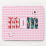 Patchwork 'MOM' On Pink Checkerboard Mousepad