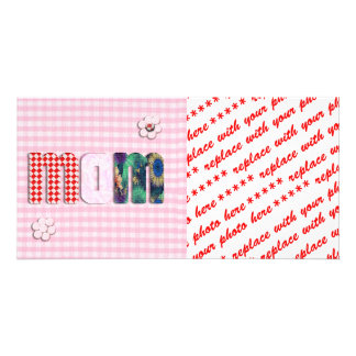 Patchwork 'MOM' On Pink Checkerboard Custom Photo Card