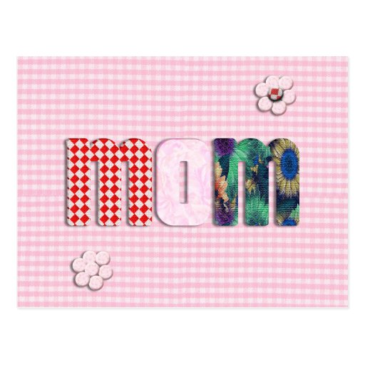 Patchwork 'MOM' On Pink Checkerboard Post Card