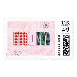 "Patchwork ""MOM"" on Pink Rose Background Postage Stamps"