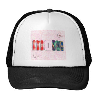 """Patchwork """"MOM"""" with Pink Roses Background Mesh Hat"""