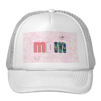 """Patchwork """"MOM"""" with Pink Roses Background Hats"""
