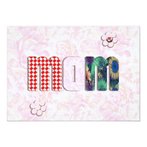 """Patchwork """"MOM"""" with Pink Roses Background Announcement"""