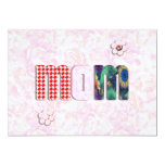 """Patchwork """"MOM"""" with Pink Roses Background Personalized Invitations"""