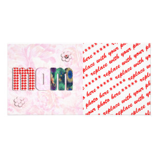 """Patchwork """"MOM"""" with Pink Roses Background Customized Photo Card"""