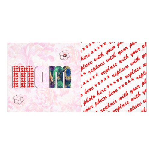 """Patchwork """"MOM"""" with Pink Roses Background Photo Card"""