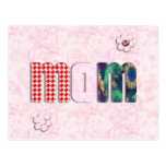 """Patchwork """"MOM"""" with Pink Roses Background Postcards"""