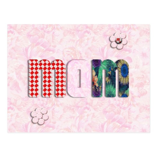 "Patchwork ""MOM"" with Pink Roses Background Postcard"