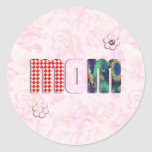 """Patchwork """"MOM"""" with Pink Roses Background Sticker"""