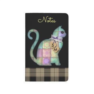 Patchwork Multi Color Plaid Cat Pocket Journal