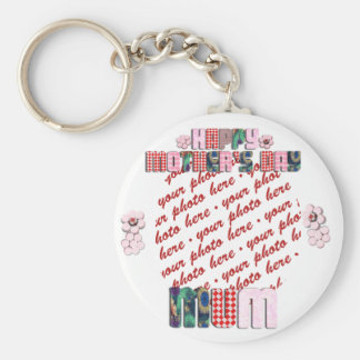 Patchwork MUM Happy Mother s Day Photo Frame Key Chain