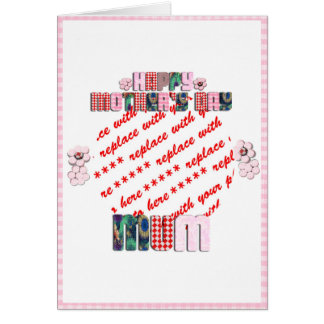 Patchwork 'MUM' Happy Mother's Day Photo Frame Greeting Card