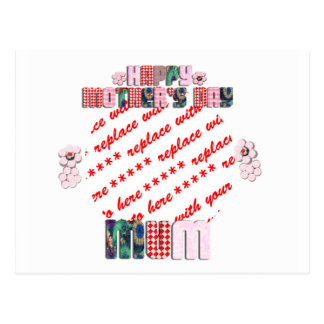 Patchwork 'MUM' Happy Mother's Day Photo Frame Postcard
