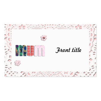 Patchwork 'MUM'  on Lace Double-Sided Standard Business Cards (Pack Of 100)