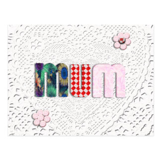 Patchwork 'MUM'  on Lace Postcard