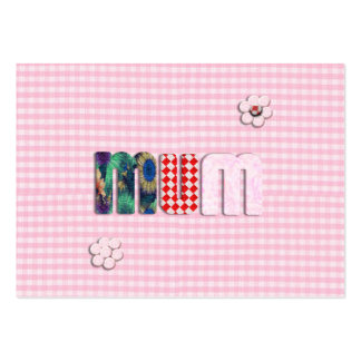 Patchwork 'MUM'  on Pink Checkerboard Large Business Cards (Pack Of 100)